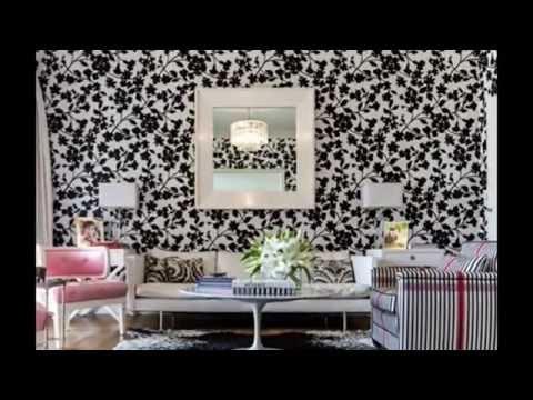 Salon Avec Papier Peint Floral Youtube