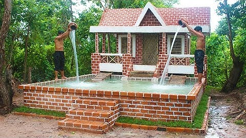 Permanent Link to Buildding Amazing Pretty Brick Swimming Pool And Modern Two Story House Villa Design In Forest