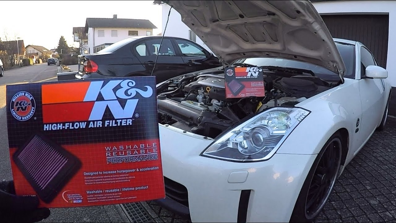 nissan 350z k&n filter vs. stock - sound check - youtube