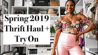 THRIFT WITH ME SPRING 2019 TRENDS + TRY-ON HAUL + STYLING | MONROE STEELE