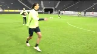 Erkan Zengins and Zlatan Ibrahimovic having fun at training with Sweden