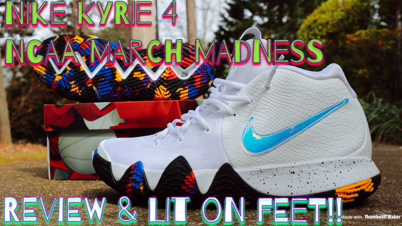 new product b6c3f b58b0 NIKE KYRIE 4 NCAA MARCH MADNESS REVIEW & LIT ON FEET!!
