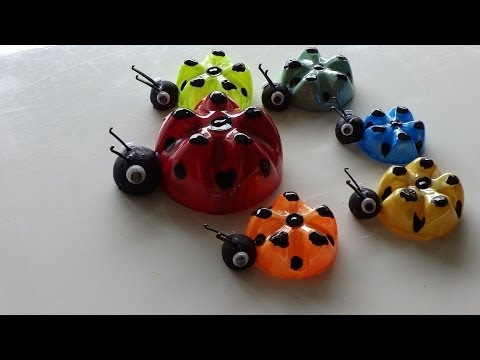 Recycled Art Ideas for Kids: Ladybug's Family from Plastic Bottles