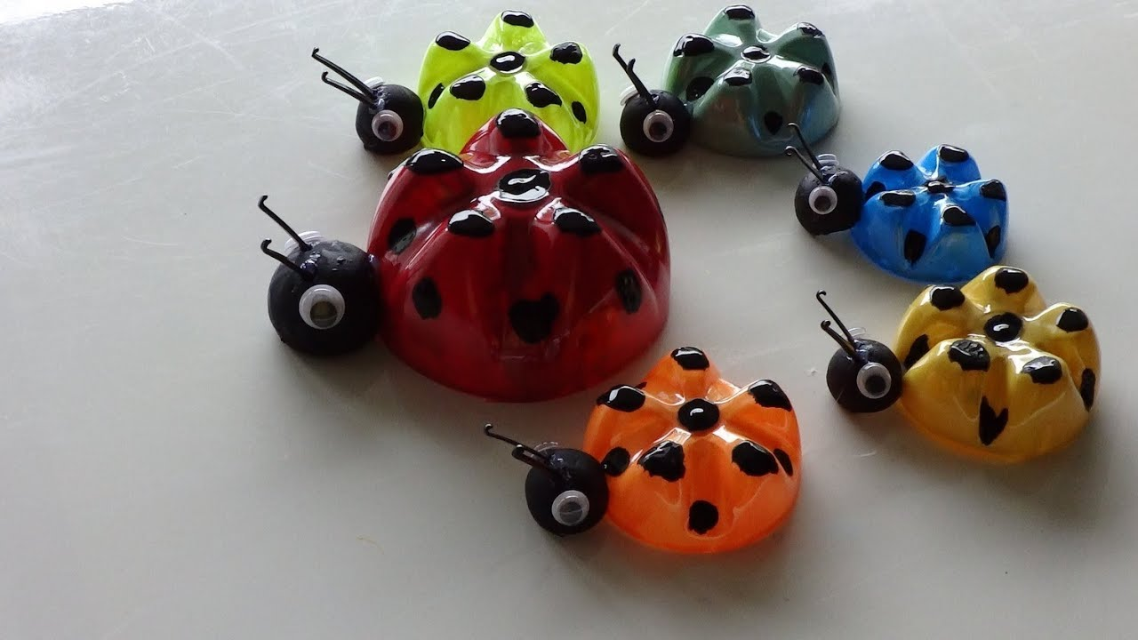 Recycled art ideas for kids ladybug 39 s family from plastic for Recycle project ideas