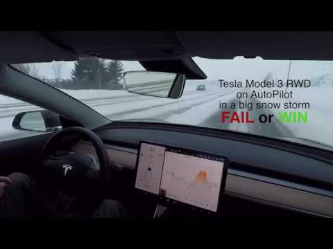 Tesla Model 3 AutoPilot in Snow Storm - YouTube
