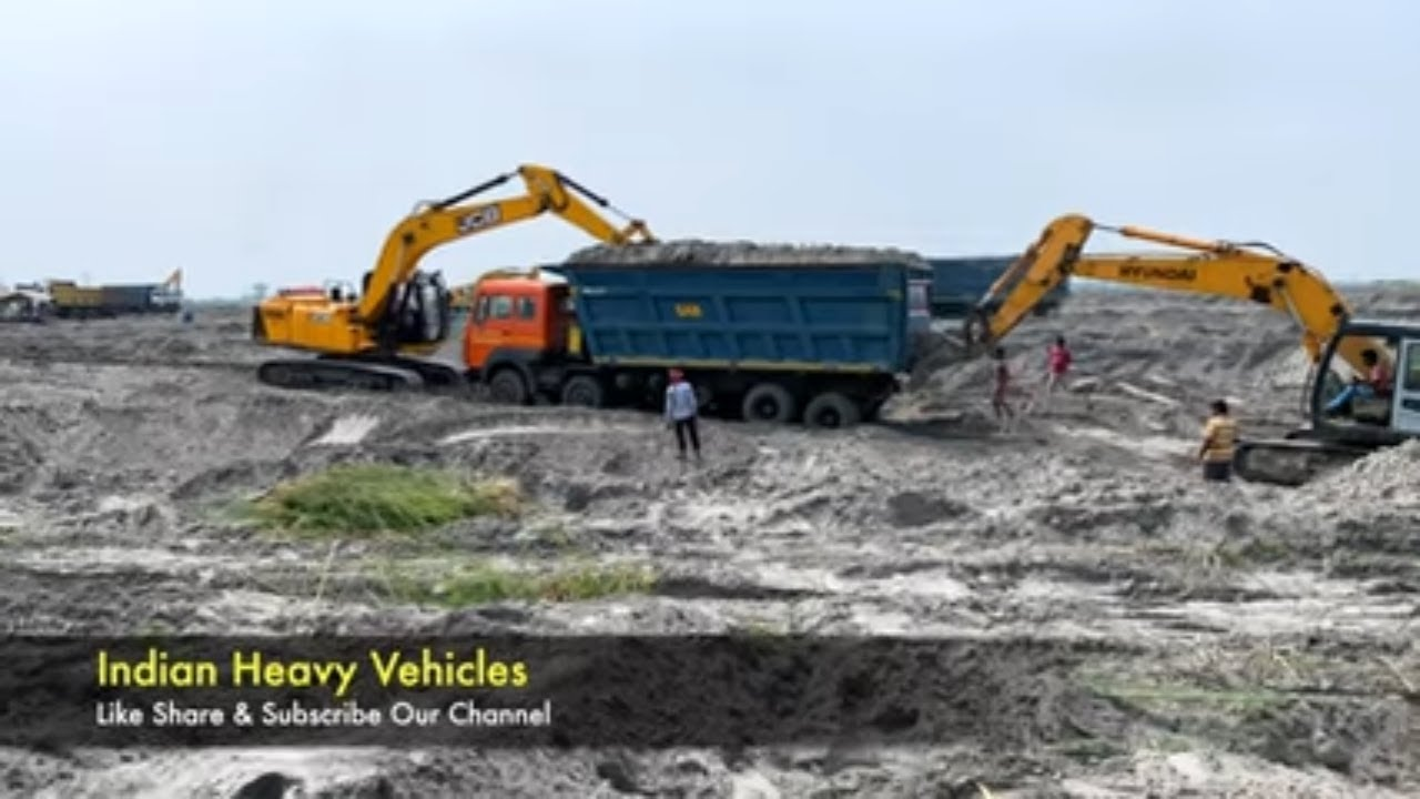 One Truck Two Excavator - Tata 14 Wheeler Hywa Truck Struggles In Dust Rescued By Two Excavator.
