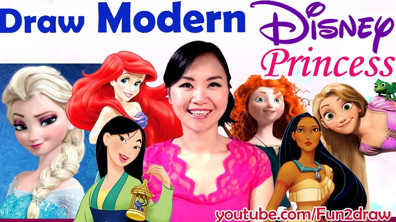 Art Challenges Fun Art Video Draw Disney Princess As Modern