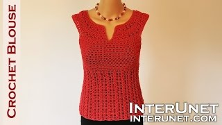 Crochet blouse - red sage stitch summer top crochet pattern