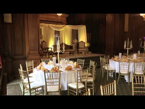 Pinewood studios wedding decor. Gold themed wedding.