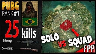 PUBG Rank 1 - sparkingg 25 kills [SA] Solo vs Squad - PLAYERUNKNOWN'S BATTLEGROUNDS