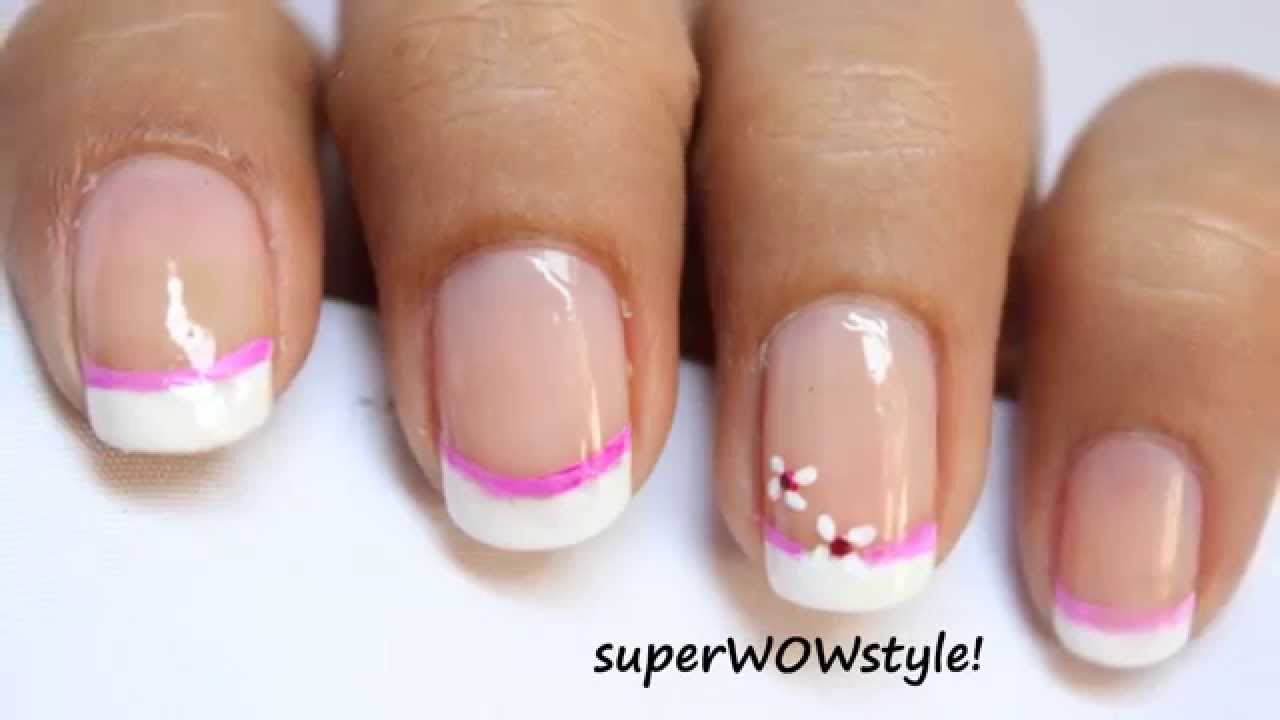 Pink flower * Cute French Tip Nail Designs - YouTube