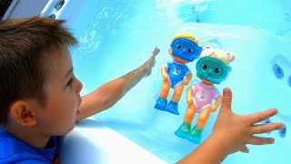 Pretend Play with Dolls | Tim helps Babies in Pool & Takes Care of Toys