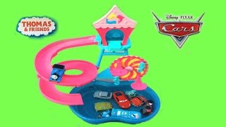 thomas and friends toy trains disney cars toys on a water slide play set