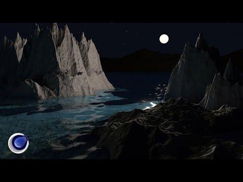 Ночная сцена с океаном морем в Cinema 4D (Ocean Sea in Cinema 4D Tutorial)