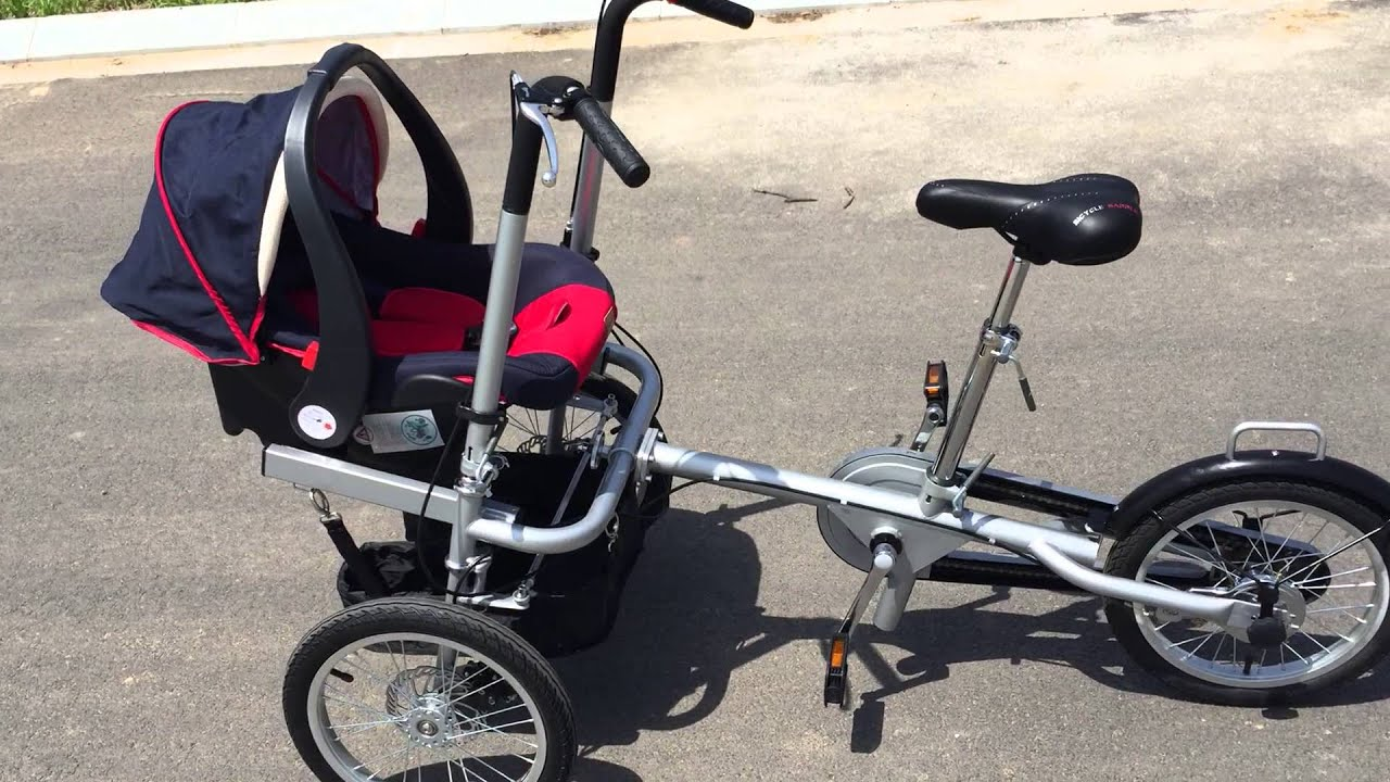 ZZMERCK M-TG05 Bicycle Stroller with baby car seat show - YouTube