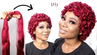 DIY SHORT CURLY CROCHET WIG USING BRAID EXTENSION | Crochet wig hairstyles | How to curl braid