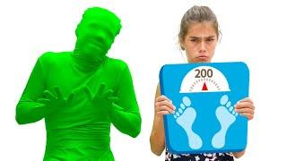 Nastya quer ficar magra, exercícios e comidas saudáveis