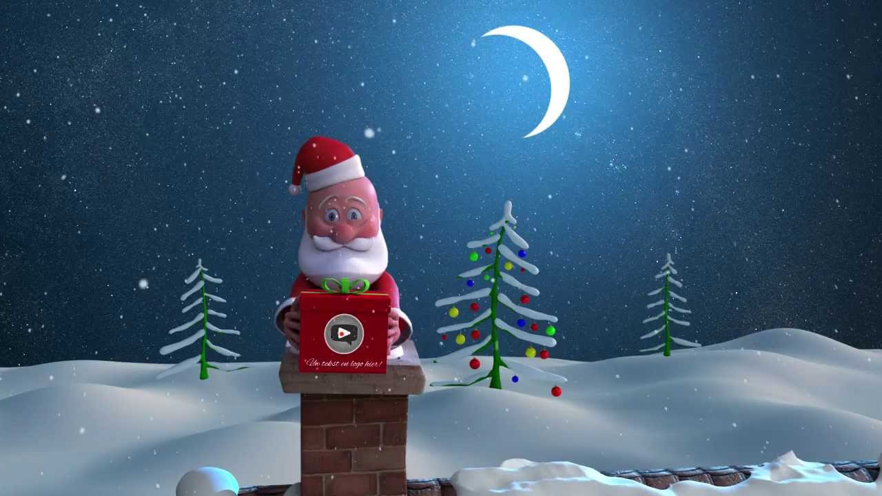 Geanimeerde Kerstkaart Kerstman op dak wwwmijnkerst