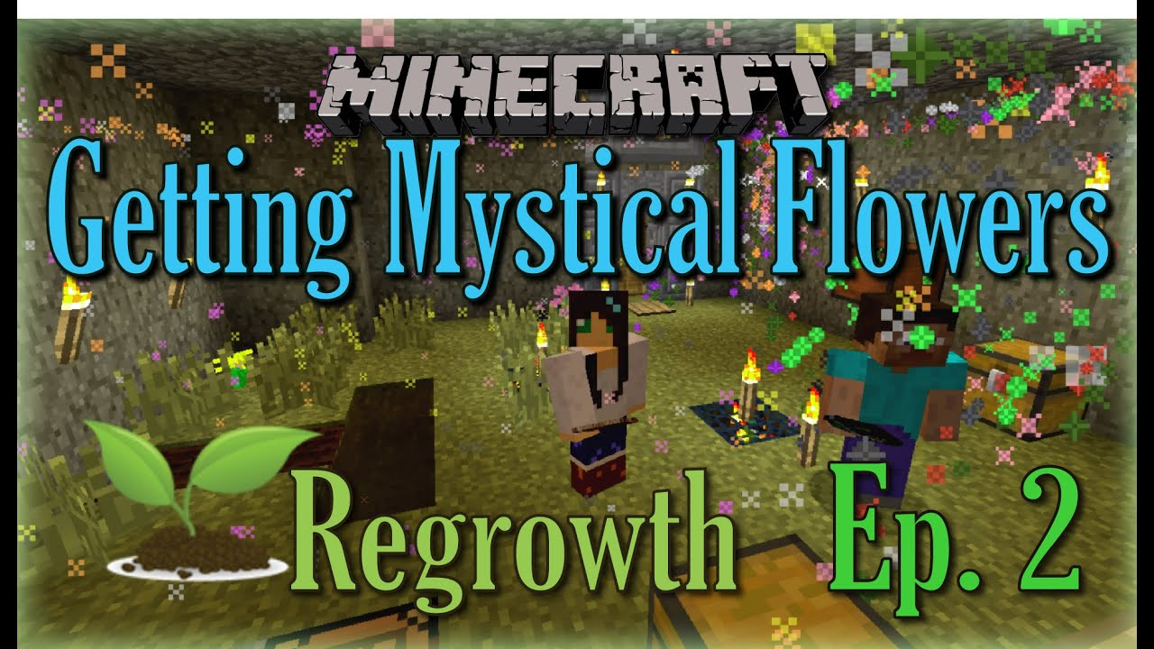 Minecraft Regrowth   Episode 2   How To Play: With Mattbrush U0026 Izzleberry    Getting Mystical Flowers