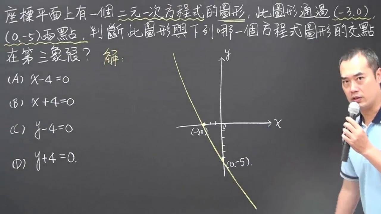 105年會考選擇題第11題:直角座標平面與二元一次方程式的圖形(昭文老師講解) - YouTube