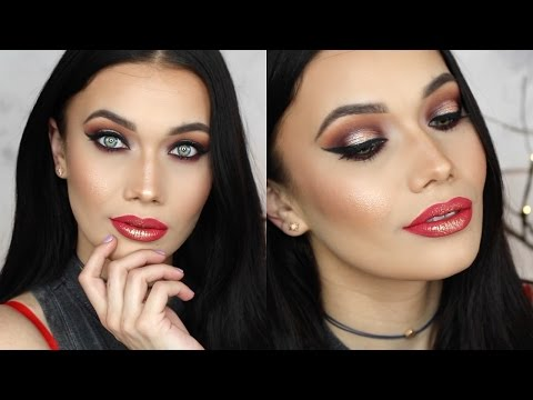 Red Glitter & Gold Lips | Dramatic Concert/Festival Makeup Tutorial