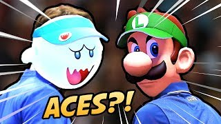 """REAL LIFE TENNIS PLAYERS VS THE ACES"" - Mario Tennis Aces [Doubles Gameplay]"