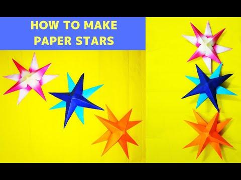 KIDS Craft Ideas- CHRISTMAS PAPER STARS || 3D ORIGAMI STARS STEP BY STEP # Christmas Stars