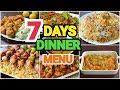 WEEKLY MENU FOR DINNER  7 Days Dinner Menu by YES I CAN COOK #WeeklyMenu #DinnerMenu #Desi