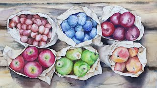 봉지에 담긴 과일들~(수채화.과일 그리기)