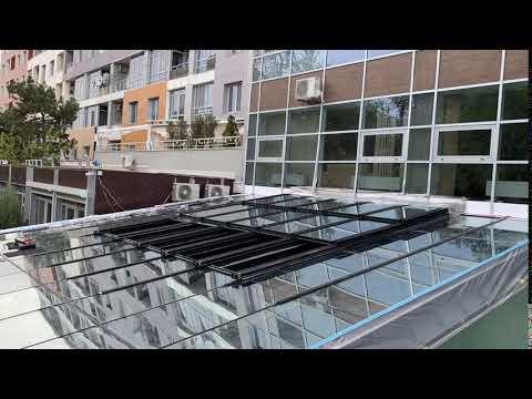 Раздвижная стеклянная крыша  ресторана AZUMA, Одесса. Profiservice. Sliding Roof.