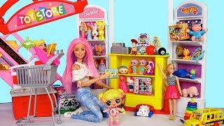 LOL Doll Goldie Shopping in Barbie's Toy Store & Water Park Birthday Party