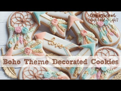 BOHO theme cookie set!  How to decorate Dreamcatcher & Feather arrows cookies