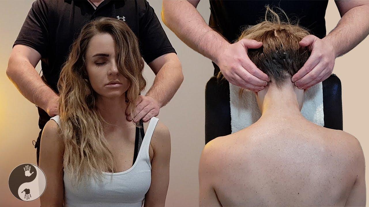 ASMR Massage - Best seated Massage Ever   Neck, shoulder & Back   No talking