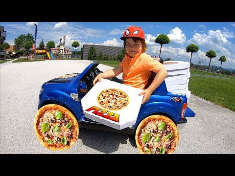 Pretend Play Pizza Delivery | Power Pizza Wheels Ride On Car | Driving in My Car Song