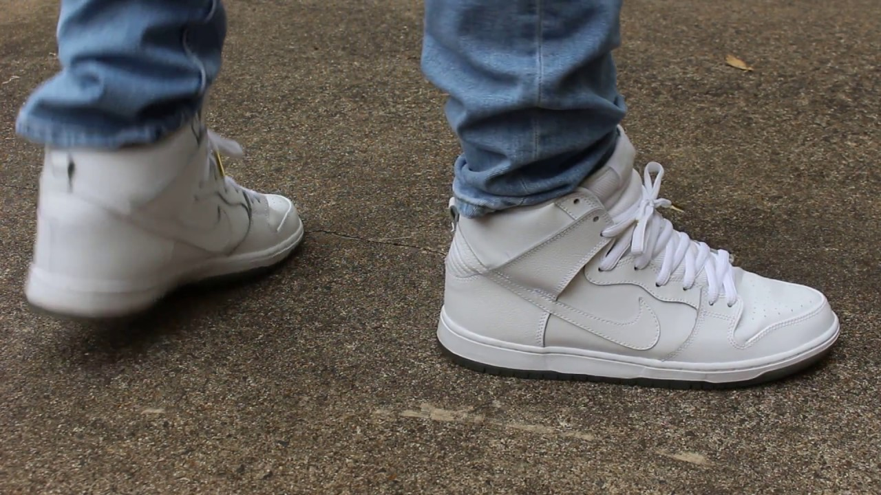 check out 0cb2f 3cd92 Nike SB Dunk Hi Pro White on Ice ON FEET