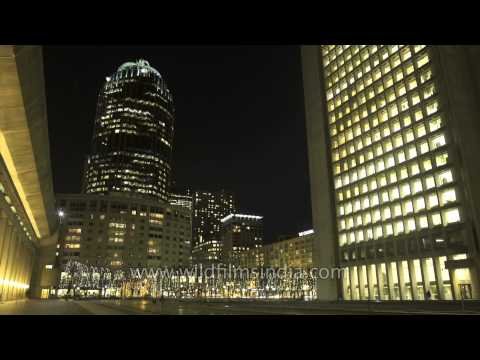 Christian Science Plaza and the Prudential Center at night- Time Lapse