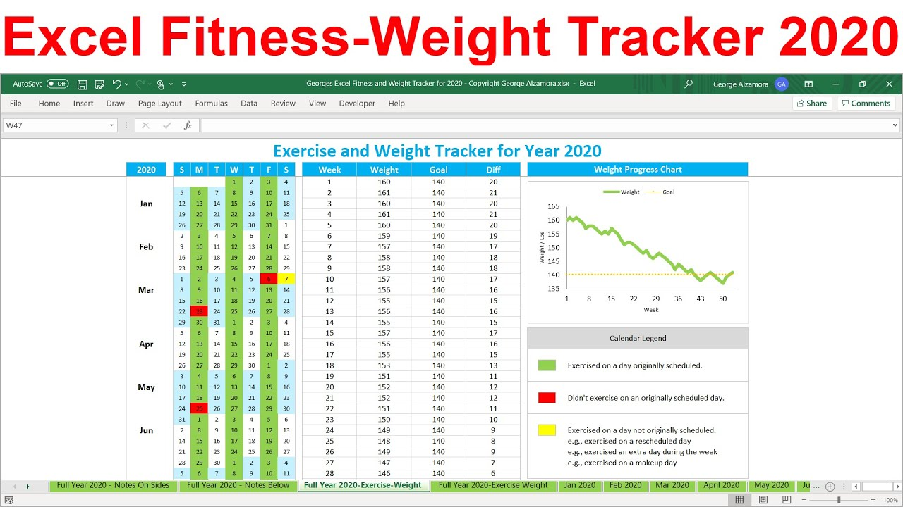 2020 Fitness Weight Loss Tracker Excel Template 2020 Exercise Planner Workout Calendar Spreadsheet Youtube