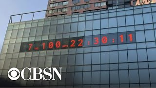 Massive digital clock counts down to a deadline in the climate crisis