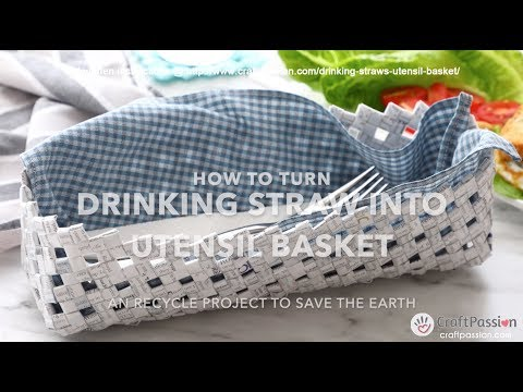 How To Make Basket From Drinking Straws - Recycle Project