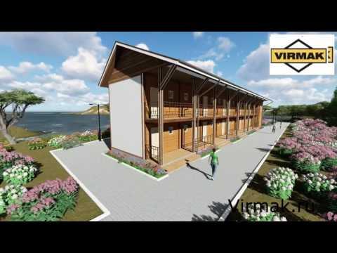 Проект гостиницы на 14 номеров  332 м2 из СИП панелей с ЦСП от компании Вирмак
