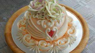 Украшение тортов кремом - торт от сердца к сердцу, cake decoration