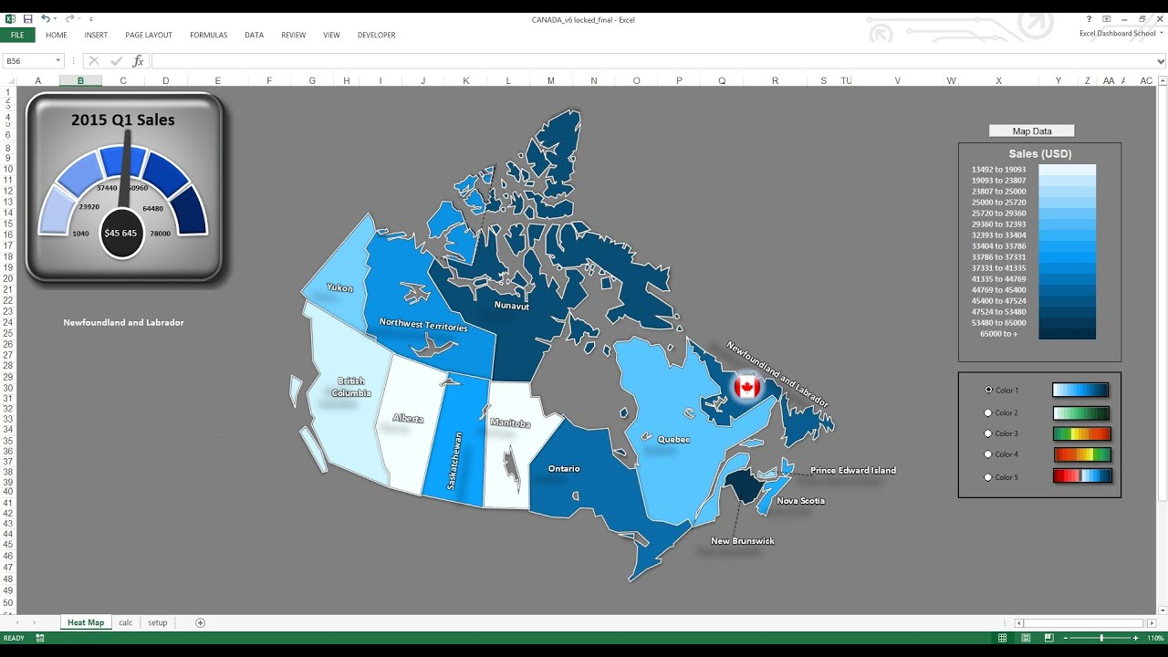 Excel canada sales map dashboard template youtube gumiabroncs Image collections