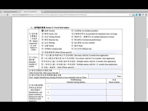 China Visa Form Fill  Up