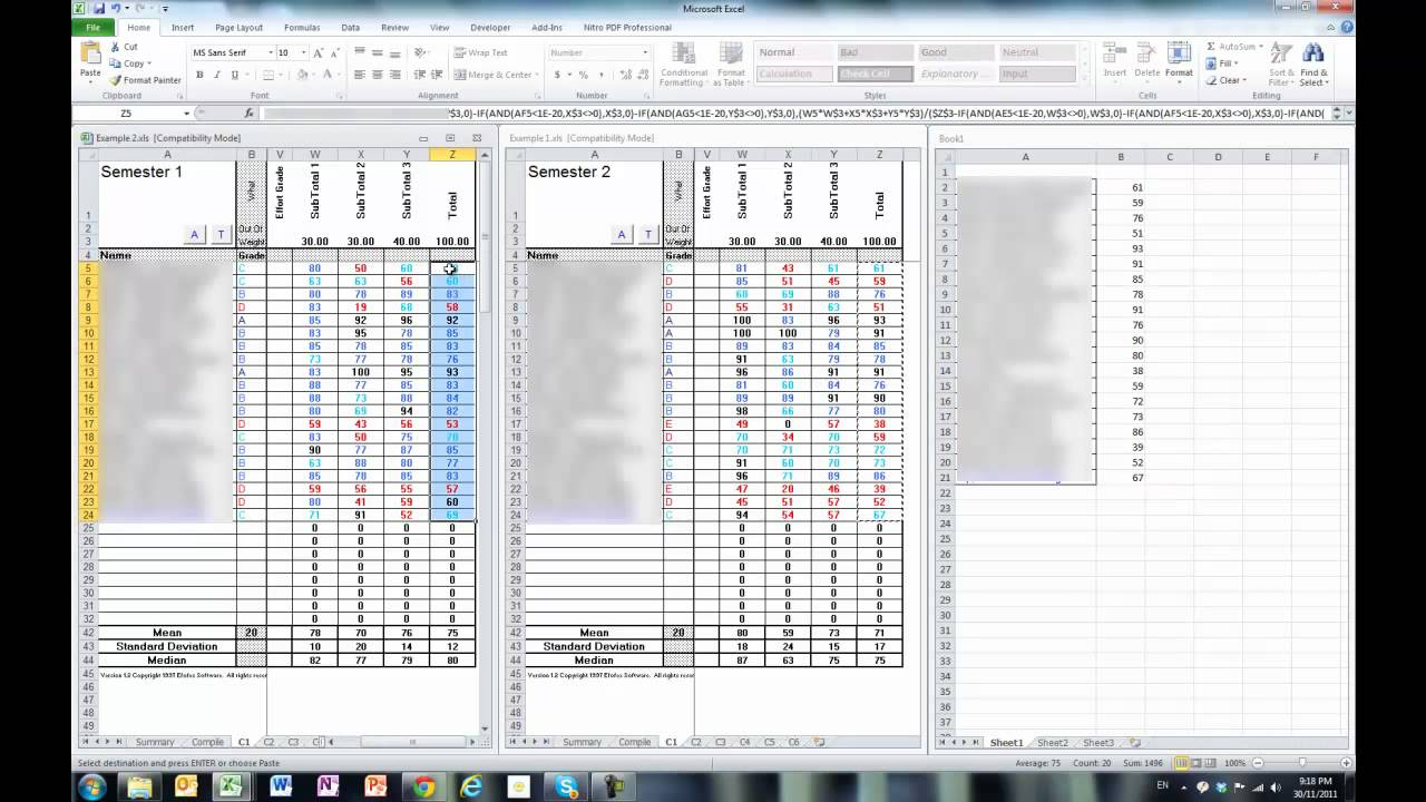 Excel: Difference of two columns
