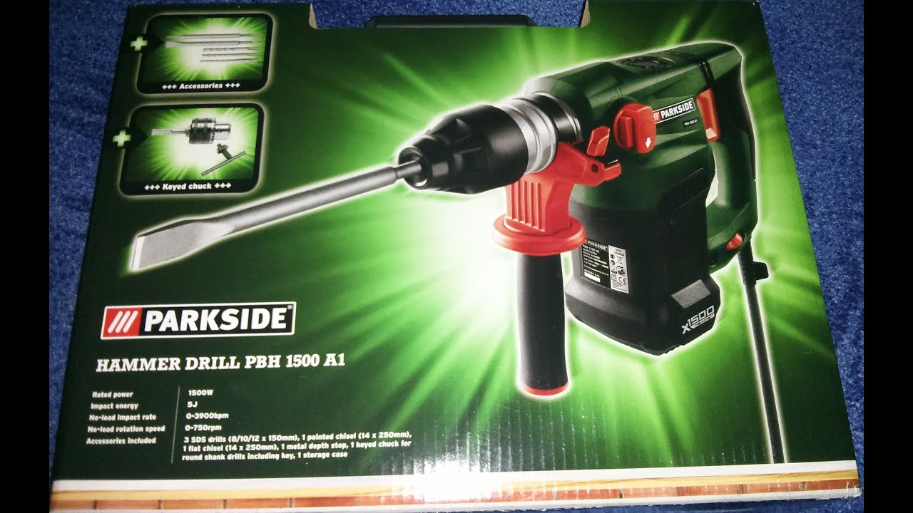 parkside hammer drill pbh 1500 a1 unpacking doovi. Black Bedroom Furniture Sets. Home Design Ideas