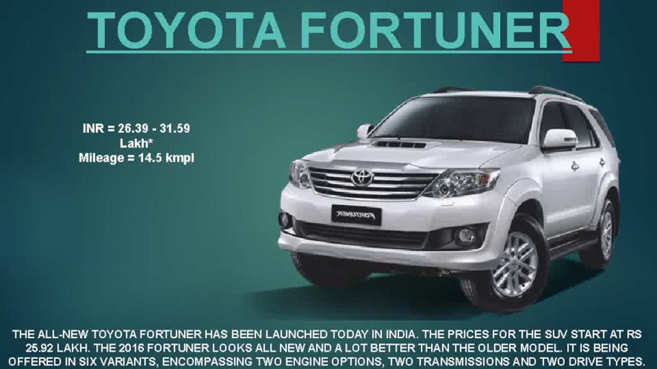 Top Best Toyota Cars In India YouTube - All toyota cars with price