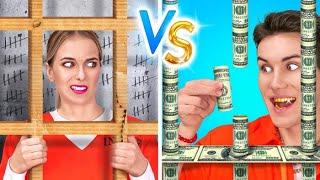 अमीरो vs गरीबो की जेल || घर की जेल में मज़ेदार सिचुएशन ! DIY खाना छिपाने के आईडिया 123 GO! TRENDS पर