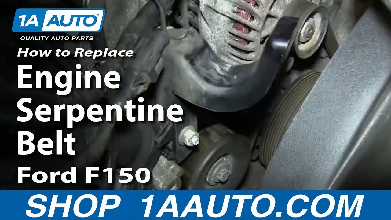 how to replace engine serpentine belt 4 6l 5 4l v8 04 08 ford f150 youtube [ 1920 x 1080 Pixel ]