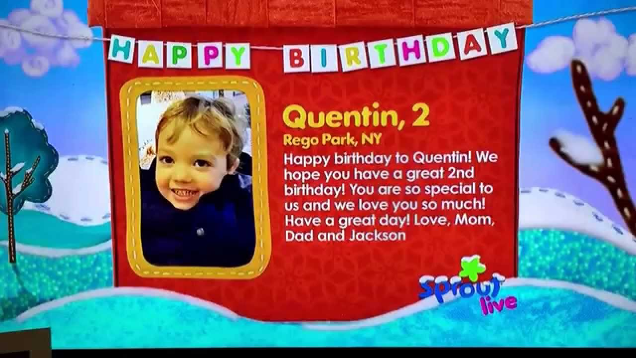 Sprout Birthday Wishes for Quentin YouTube