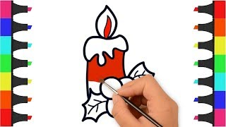 Christmas Candle Coloring Pages for Kids – How to Draw and Color Candle – Christmas Candle Coloring